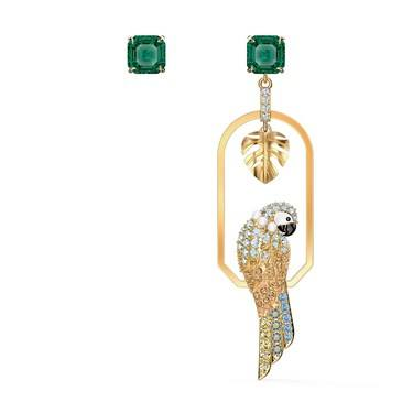 Swarovski Tropical Gold & Green Parrot Earrings  - Click to view larger image