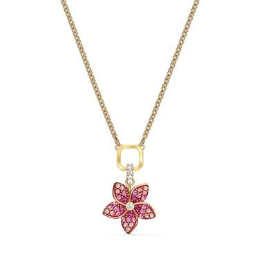 Swarovski Tropical Flower Pink & Gold Necklace  - Click to view larger image