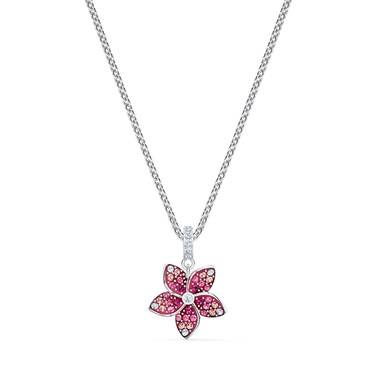 Swarovski Tropical Flower Pink Necklace  - Click to view larger image