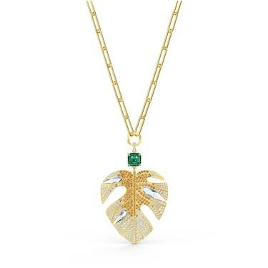 Swarovski Tropical Gold Leaf Necklace   - Click to view larger image