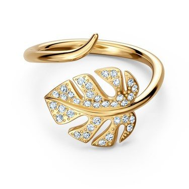 Swarovski Tropical Leaf Gold Ring Size 58  - Click to view larger image