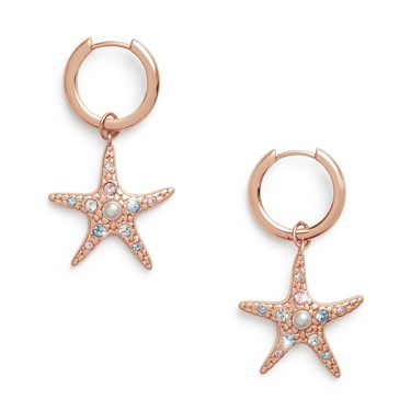 Olivia Burton Rose Gold Starfish Huggie Earrings  - Click to view larger image