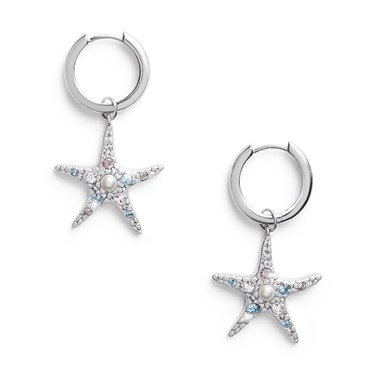 Olivia Burton Silver Starfish Huggie Earrings  - Click to view larger image