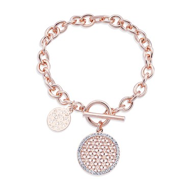 August Woods Rose Gold Chunky T-Bar Crystal Bracelet  - Click to view larger image