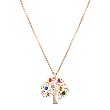 August Woods Rose Gold Rainbow Tree Of Life Necklace  - Click to view larger image