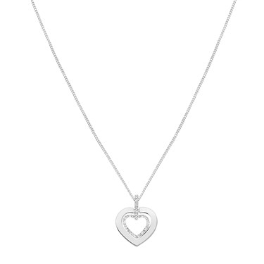 August Woods Silver Crystal Double Heart Necklace  - Click to view larger image