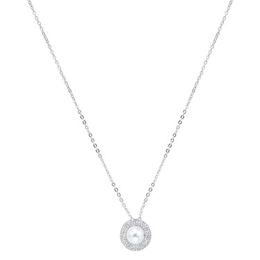 August Woods Silver Crystal Pearl Necklace - Silver