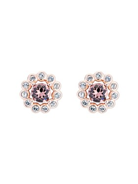 Ted Baker Rose Gold Pink Crystal Daisy Earrings  - Click to view larger image