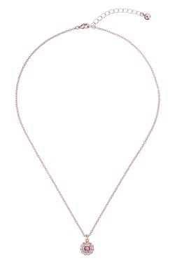 Ted Baker Rose Gold Pink Crystal Daisy Necklace  - Click to view larger image