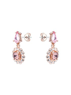 Ted Baker Rose Gold Pink Crystal Daisy Drop Earrings  - Click to view larger image