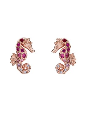 Ted Baker Rose Gold + Pink Seahorse Ombre Earrings  - Click to view larger image