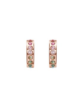 Ted Baker Rose Gold Rainbow Crystal Huggie Earrings  - Click to view larger image