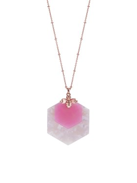 Ted Baker Rose Gold + Pink Honey Bee Necklace  - Click to view larger image