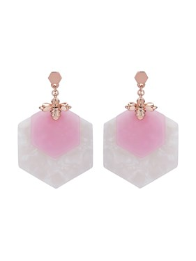 Ted Baker Rose Gold + Pink Honey Bee Drop Earrings  - Click to view larger image