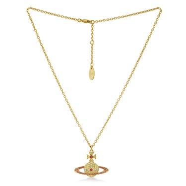 Vivienne Westwood Gold + Pink Kika Necklace  - Click to view larger image