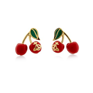 Vivienne Westwood Gold Misty Cherry Earrings  - Click to view larger image