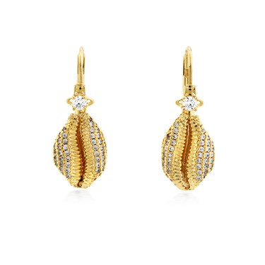Vivienne Westwood Gold Jill Shell Drop Earrings  - Click to view larger image