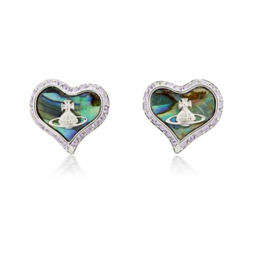 Vivienne Westwood Abalone Petra Heart Earrings  - Click to view larger image