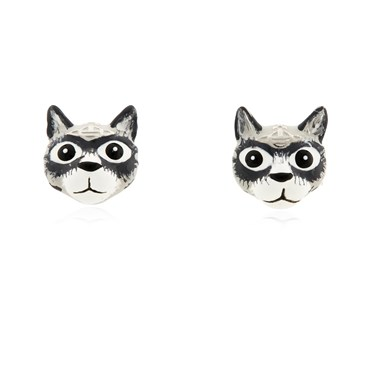 Vivienne Westwood Grey Cat Earrings  - Click to view larger image