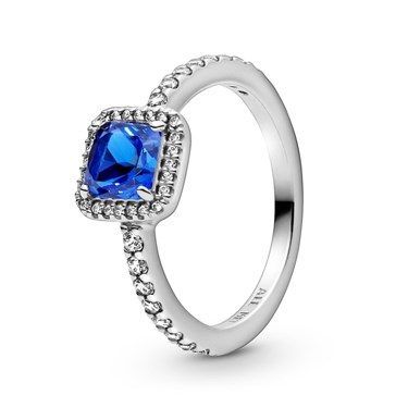 Pandora Blue Square Sparkle Halo Ring  - Click to view larger image