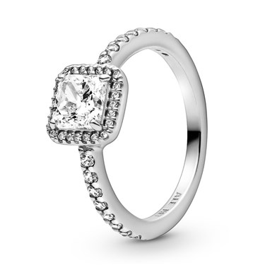 Pandora Square Silver Sparkle Halo Ring  - Click to view larger image
