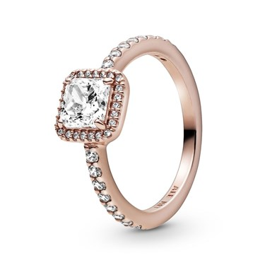 Pandora Square Rose Sparkle Halo Ring  - Click to view larger image