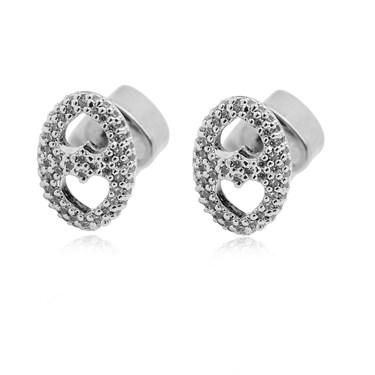 Kate Spade New York Silver Crystal Duo Heart Earrings  - Click to view larger image