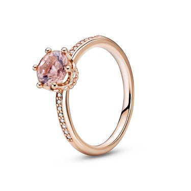 Pandora Pink Sparkling Crown Solitaire Ring  - Click to view larger image