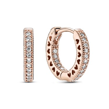 Pandora Rose Crystal Heart Hoop Earrings  - Click to view larger image