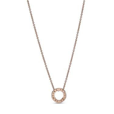 Pandora Rose Crystal Logo Circle Necklace  - Click to view larger image