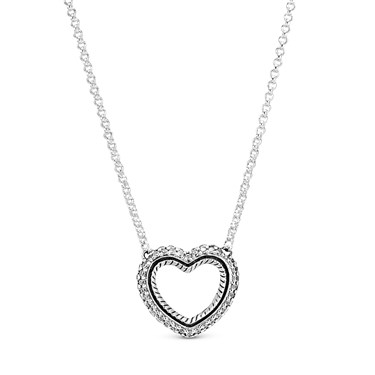 Pandora Crystal Snake Chain Open Heart Necklace  - Click to view larger image