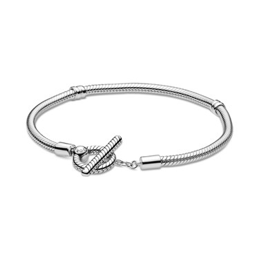 Pandora Silver Moments T-Bar Snake Chain Bracelet  - Click to view larger image