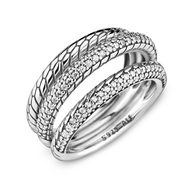 Pandora Triple Band Crystal Snake Chain Ring  - Click to view larger image