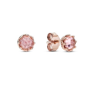 Pandora Pink Sparkling Crown Stud Earrings  - Click to view larger image