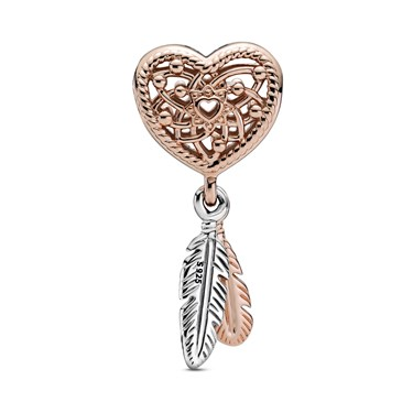 Pandora Heart & Feathers Dreamcatcher Charm  - Click to view larger image