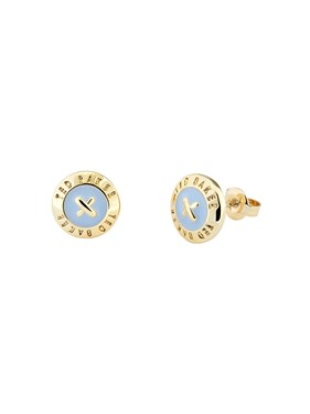 Ted Baker Gold & Blue Mini Button Earrings  - Click to view larger image