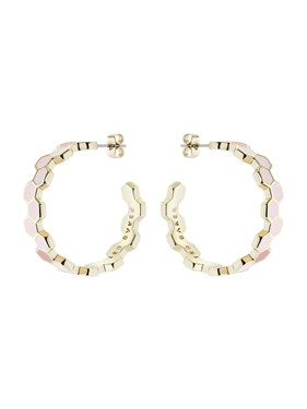 Ted Baker Gold & Pink Hexagon Honey Hoop Earrings  - Click to view larger image