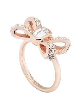 Ted Baker Rose Gold Sparkle Bow Ring   - Click to view larger image