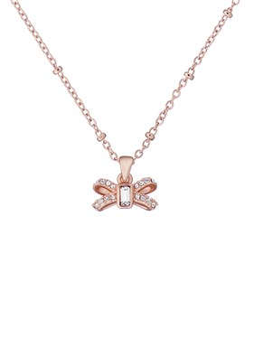 Ted Baker Rose Gold Sparkle Bow Necklace  - Click to view larger image
