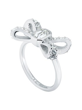 Ted Baker Silver Sparkle Bow Ring   - Click to view larger image