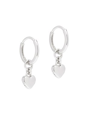 Ted Baker Silver Tiny Heart Huggie Earrings  - Click to view larger image