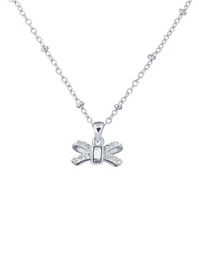 Ted Baker Silver Sparkle Bow Necklace  - Click to view larger image