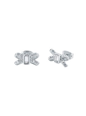 Ted Baker Silver Sparkle Bow Earrings  - Click to view larger image