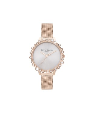 Olivia Burton Rose Gold Bubble Mesh Watch   - Click to view larger image