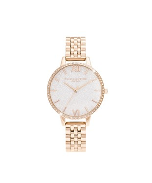 Olivia Burton Rose Gold Sparkling Glitter Watch  - Click to view larger image