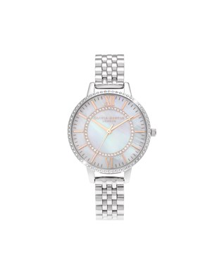 Olivia Burton Silver Mother Of Pearl Wonderland Watch   - Click to view larger image