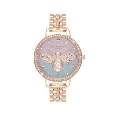 Olivia Burton Rose Gold Sparkle Bee Watch  - Click to view larger image