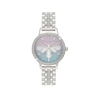 Olivia Burton Silver Sparkle Bee Watch  - Click to view larger image