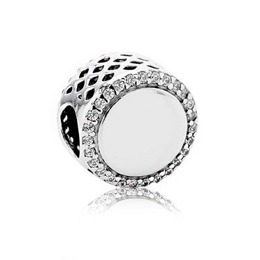 Pandora Engraving Button Charm  - Click to view larger image