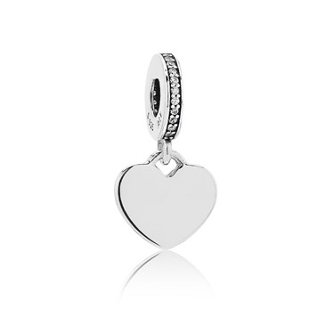 Pandora Engraving Heart Drop Charm  - Click to view larger image